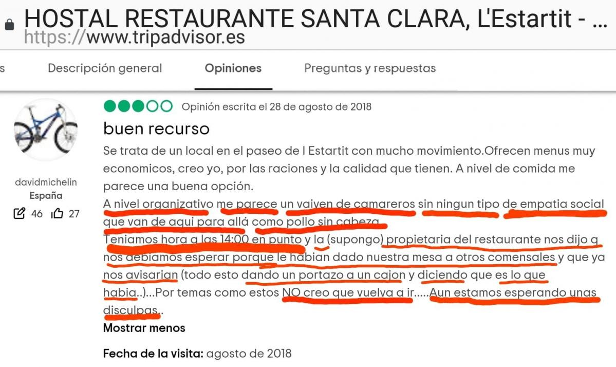 Hostal santa clara estartit opinion disculpas