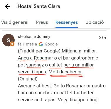 Restaurant santa clara estartit opinion