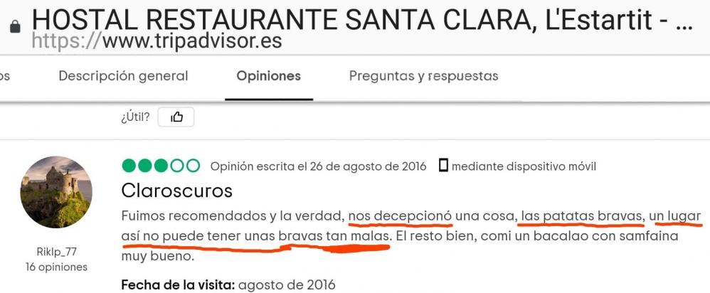 Santa clara estartit food review estartit