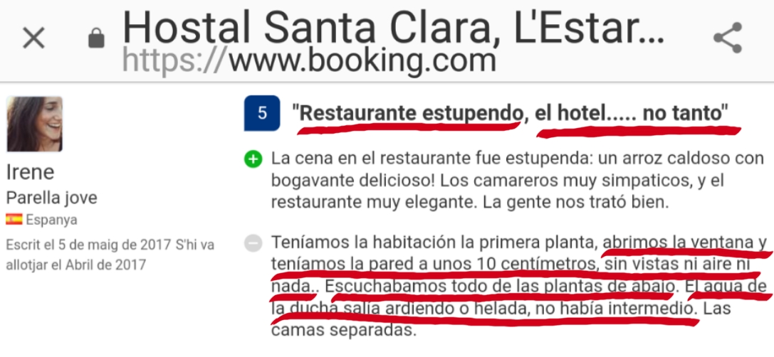 Hostal Santa Clara l'Estartit Restaurant Estartit opinion